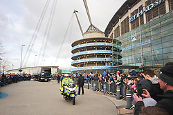 The Manchester City team coach arrives late to the stadium, around 1 hour 20 minutes before kick off after the team arrived home from Abu Dhabi just 18 hours earlier - Photo mandatory by-line: Matt McNulty/JMP - Mobile: 07966 386802 - 24/01/2015 - SPORT - Football - Manchester - Etihad Stadium - Manchester City v Middlesbrough - FA Cup Fourth Round