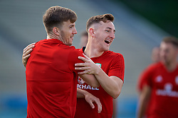 LOS ANGELES, USA - Saturday, May 26, 2018: Wales' Lee Evans and Tom Lockyer during a training session at the UCLA Drake Track and Field Stadium ahead of the International friendly match against Mexico. (Pic by David Rawcliffe/Propaganda)