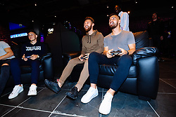 Callum O'Dowda, Josh Brownhill, Matty Taylor and Bailey Wright in action as Bristol City players visit the Belong by GAME gaming arena to play the new FIFA 18 - Rogan/JMP - 27/09/2017 - Merchant Street - Bristol, England.