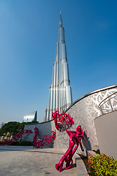 View of the Burj Khalifa skyscraper in Downtown Dubai, UAE