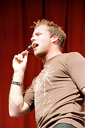 """Jason ( full name Jason Paul  Brown) of the Boy band Five performing on stage at """" Feel The Noise"""". A Local Radio stations (Rock FM)  charity pop event which was held at Blackburn Rovers Football Ground Saturday 2nd June 2001."""
