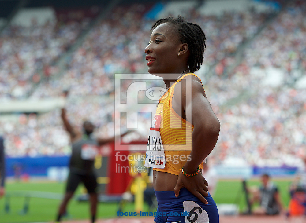 Winner  Marie-Josee Ta Lou (Ivory Coast) after wining the 100m during the M&uuml;ller Anniversary Games in the Stadium at Queen Elizabeth Olympic Park, London, UK<br /> Picture by Alan Stanford/Focus Images Ltd +44 7915 056117<br /> 23/07/2016