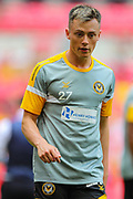 Newport County midfielder Harry McKirdy (27) warms up prior to the EFL Sky Bet League 2 Play Off Final match between Newport County and Tranmere Rovers at Wembley Stadium, London, England on 25 May 2019.