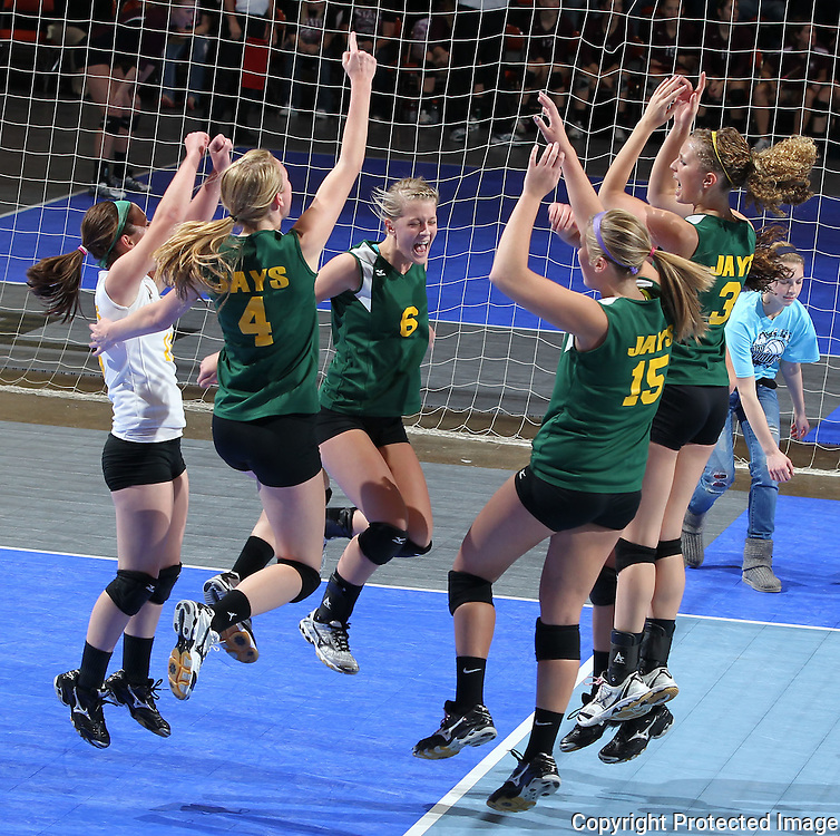 LeMars Gehlen Catholic celebrates after an ace servce during their 1A semifinal match in the state volleyball tournament at the U.S. Cellular Center at 370 1st Ave E on Friday evening, November 12, 2010. (Stephen Mally/Freelance)