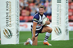 Andy Short of Bristol Rugby reacts after scoring a try - Photo mandatory by-line: Patrick Khachfe/JMP - Mobile: 07966 386802 21/09/2014 - SPORT - RUGBY UNION - Bristol - Ashton Gate - Bristol Rugby v Cornish Pirates - GK IPA Championship.