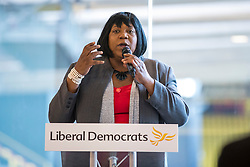 © Licensed to London News Pictures. 04/04/2018. Watford, UK. Pauline Pearce, known as the 'Hackney Heroine' after she was filmed confronting rioters during the 2011 London Riots, launches her bid to become a Liberal Democrat councillor in Hackney. Photo credit: Rob Pinney/LNP