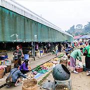 The morning market in Sam Neua (also spelled Samneua, Xamneua and Xam Neua) in northeastern Laos.
