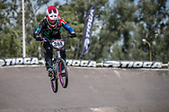 #308 (PETCH Rebecca) NZL during practice at round 1 of the 2018 UCI BMX Supercross World Cup in Santiago del Estero, Argentina.