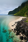 Turqoise water and white sand beach at Ofu Island, Manu´a island group, American Samoa, South Pacific