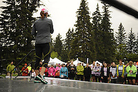 Marketing and promotional stock photography from the the STARBUCKS® RUN FOR WOMEN™ at Baker Park in Calgary, Alberta for use by the organizers and sponsors of the race.<br /> <br /> Photographed in Calgary on June 23, 2012 on behalf of http://www.MySportsShooter.com.<br /> <br /> ©2012, Sean Phillips.<br /> http://www.RiverwoodPhotography.com