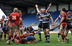 Matt Garvey and Carl Fearns  of Bath Rugby celebrate as Leroy Houston scores his second try - Photo mandatory by-line: Patrick Khachfe/JMP - Mobile: 07966 386802 29/03/2015 - SPORT - RUGBY UNION - Oxford - Kassam Stadium - London Welsh v Bath Rugby - Aviva Premiership