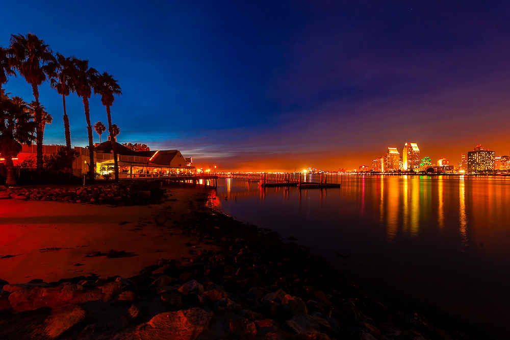 View from Il Fornaio restaurant on Coronado Island across San Diego Bay to Downtown San Diego, California USA.
