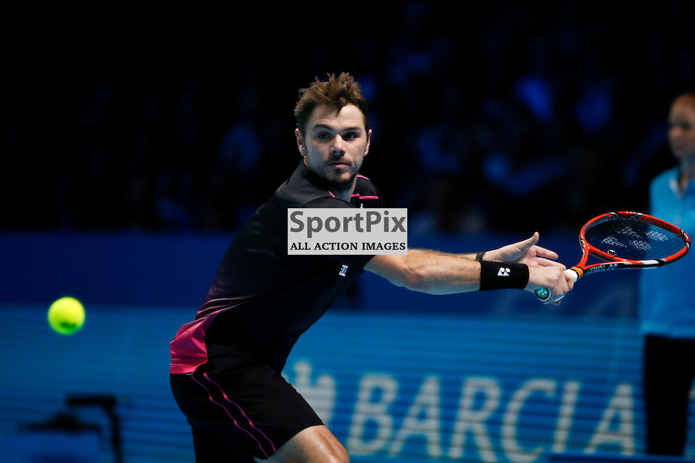 Stan Wawrinka' backhand during a semi-final match between Roger Federer and Stan Wawrinka at the ATP World Tour Finals 2015 at the O2 Arena, London.  on November 21, 2015 in London, England. (Credit: SAM TODD | SportPix.org.uk)