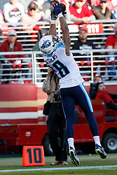 SANTA CLARA, CA - DECEMBER 17: Wide receiver Rishard Matthews #18 of the Tennessee Titans catches a pass against the San Francisco 49ers during the second quarter at Levi's Stadium on December 17, 2017 in Santa Clara, California.  (Photo by Jason O. Watson/Getty Images) *** Local Caption *** Rishard Matthews