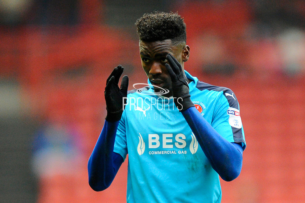 Devante Cole (44) of Fleetwood Town show focus during the The FA Cup match between Bristol City and Fleetwood Town at Ashton Gate, Bristol, England on 7 January 2017. Photo by Graham Hunt.