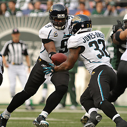 Nov 15, 2009; East Rutherford, NJ, USA; Jacksonville Jaguars quarterback David Garrard (9) hands the ball off to running back Maurice Jones-Drew (32) during first half NFL action between the New York Jets and Jacksonville Jaguars at Giants Stadium.