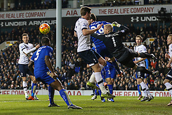 Kasper Schmeichel of Leicester City dives to much the ball clear - Mandatory byline: Jason Brown/JMP - 07966386802 - 13/01/2016 - FOOTBALL - White Hart Lane - London, England - Tottenham v Leicester City - Barclays Premier League