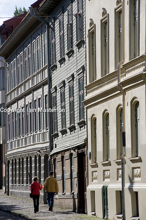 Historic old street and buildings in Haga District of Gothenburg Sweden