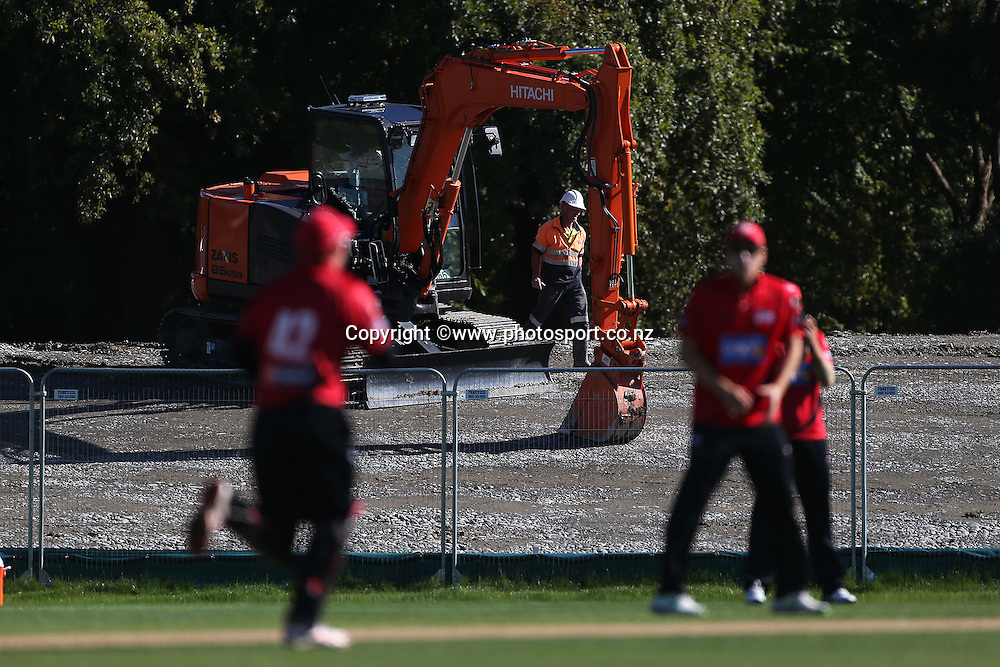 The embankment taking shape during the Ford Trophy cricket match between the Canterbury Wizards v Northern Knights at Hagley Oval, Christchurch. 26 March 2014 Photo: Joseph Johnson/www.photosport.co.nz