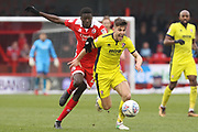 Panutche Camara and Kevin Dawson during the EFL Sky Bet League 2 match between Crawley Town and Cheltenham Town at the Checkatrade.com Stadium, Crawley, England on 24 March 2018. Picture by Antony Thompson.
