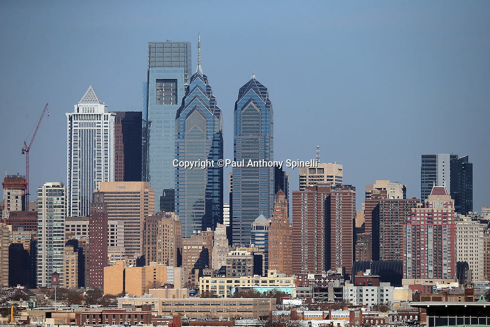 The Philadelphia skyline stands tall while framed by blue skies in this general view photograph of the City taken before the Philadelphia Eagles 2015 week 10 regular season NFL football game against the Miami Dolphins on Sunday, Nov. 15, 2015 in Philadelphia. The Dolphins won the game 20-19. (©Paul Anthony Spinelli)