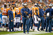 DENVER, CO - AUGUST 11:  Head Coach Vance Joseph of the Denver Broncos on the sidelines during a game against the Minnesota Vikings during week one of preseason at Broncos Stadium at Mile High on August 11, 2018 in Denver, Colorado.  The Vikings defeated the Broncos 42-28.  (Photo by Wesley Hitt/Getty Images) *** Local Caption *** Vance Joseph