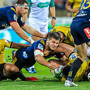 Forward play during the super rugby union  game between Hurricanes  and Highlanders, played at Westpac Stadium, Wellington, New Zealand on 24 March 2018.  Hurricanes won 29-12.