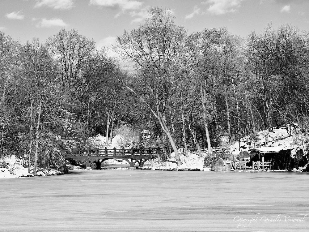 Oak Bridge and a frozen lake in Central Park