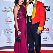 Vicky Lee and Noel Simpson arrive at Float Like A Butterfly Ball for Caudwell Children Charity at Grosvenor House Hotel on 16 November 2019, London, UK.