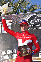 Podium, KRISTOFF Alexander (NOR) Katusha, winner, during the 15th Tour of Qatar 2016, Stage 2, Qatar University - Qatar University (145,5Km), Test Event Doha Road World Championships 2016, on February 9, 2016 - Photo Tim de Waele / DPPI
