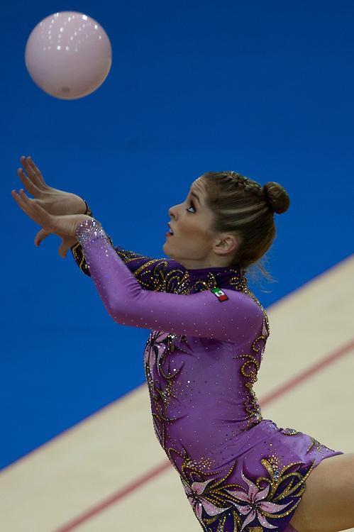 Oct. 17, 2011 - Guadalajara, Mexico -  Cynthia Yazmin of Mexico competing in Rhythmic Gymnastics Individuals with the ball at Nissan Gymnastics Stadium in Guadalajara, Mexico..©Benjamin B Morris