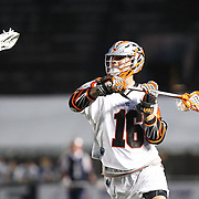 Terry Kimener #16 of the Denver Outlaws looks to shoot the ball during the game at Harvard Stadium on May 10, 2014 in Boston, Massachusetts. (Photo by Elan Kawesch)
