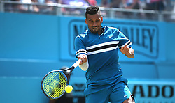 Australia's Nick Kyrgios during day four of the Fever-Tree Championship at the Queen's Club, London. PRESS ASSOCIATION Photo. Picture date: Thursday June 21, 2018. See PA story TENNIS Queens. Photo credit should read: Steven Paston/PA Wire. RESTRICTIONS: Editorial use only, no commercial use without prior permission.