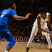 03 February 2018: The San Diego State Aztecs look to rebound after a couple losses against Air Force Saturday night. San Diego State Aztecs forward Jalen McDaniels (5) looks to take the ball into the key while being defended by Air Force Falcons forward Lavelle Scottie (12) in the second half. The Aztecs beat the Falcons 81-50 at Viejas Arena.<br /> More game action at www.sdsuaztecphotos.com
