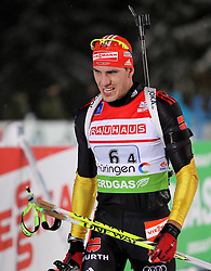 05.01.2012, DKB-Ski-ARENA, Oberhof, GER, E.ON IBU Weltcup Biathlon 2012, Staffel Herren, im Bild Arnd Peiffer (GER) im Ziel/ enttäuscht/ Rang 4 // during relay Mens of E.ON IBU World Cup Biathlon, Thüringen, Germany on 2012/01/05. EXPA Pictures © 2012, PhotoCredit: EXPA/ nph/ Hessland..***** ATTENTION - OUT OF GER, CRO *****