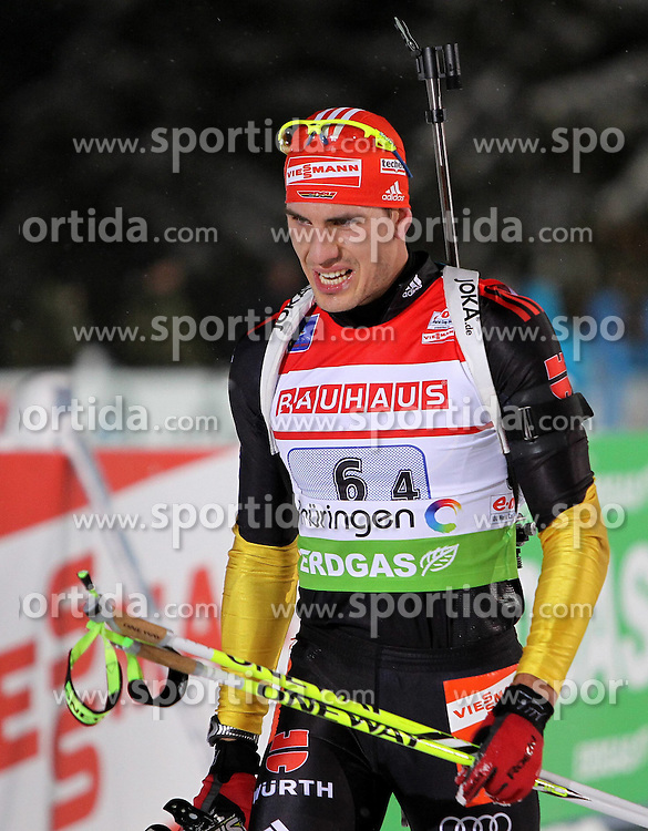 05.01.2012, DKB-Ski-ARENA, Oberhof, GER, E.ON IBU Weltcup Biathlon 2012, Staffel Herren, im Bild Arnd Peiffer (GER) im Ziel/ enttäuscht/ Rang 4 // during relay Mens of E.ON IBU World Cup Biathlon, Thüringen, Germany on 2012/01/05. EXPA Pictures © 2012, PhotoCredit: EXPA/ nph/ Hessland..***** ATTENTION - OUT OF GER, CRO *****