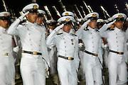 Young cadets at Naval academy parade, Cartagena de Indias, Bolivar Department, Colombia, South America.