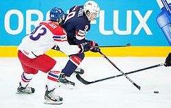Jan Kovar of Czech Republic vs Jack Eichel of USA during Ice Hockey match between USA and Czech Republic at Third place game of 2015 IIHF World Championship, on May 17, 2015 in O2 Arena, Prague, Czech Republic. Photo by Vid Ponikvar / Sportida