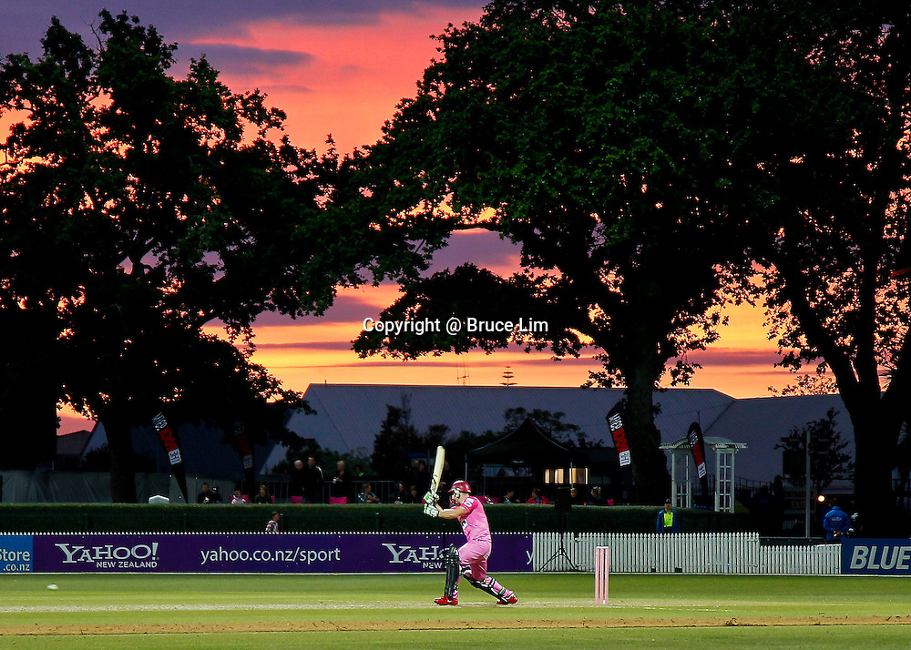 Northern Knight's import player Steven Croft batting during sunset during the HRV Cup - Northern Knights v Otago Volts, 2 November 2012.  Photo:  Bruce Lim / photosport.co.nz