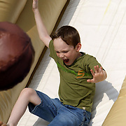 Camden Wilz, 6 slides during the Town of Leland's Founder's Day Saturday September 14, 2013. (Jason A. Frizzelle)