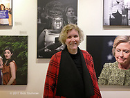 """Huntington, New York, USA. March 5, 2017.  Ann Parry at Opening Reception for """"Her Story Through Art"""" Invitational Art Show, celebrating Women's History Month, at Huntington Arts Council, Main Street Gallery. Artists Tara Leale Porter, Irene Vitale, Anahi DeCanio, Ann Parry, Show March 2 - 25, 2017."""