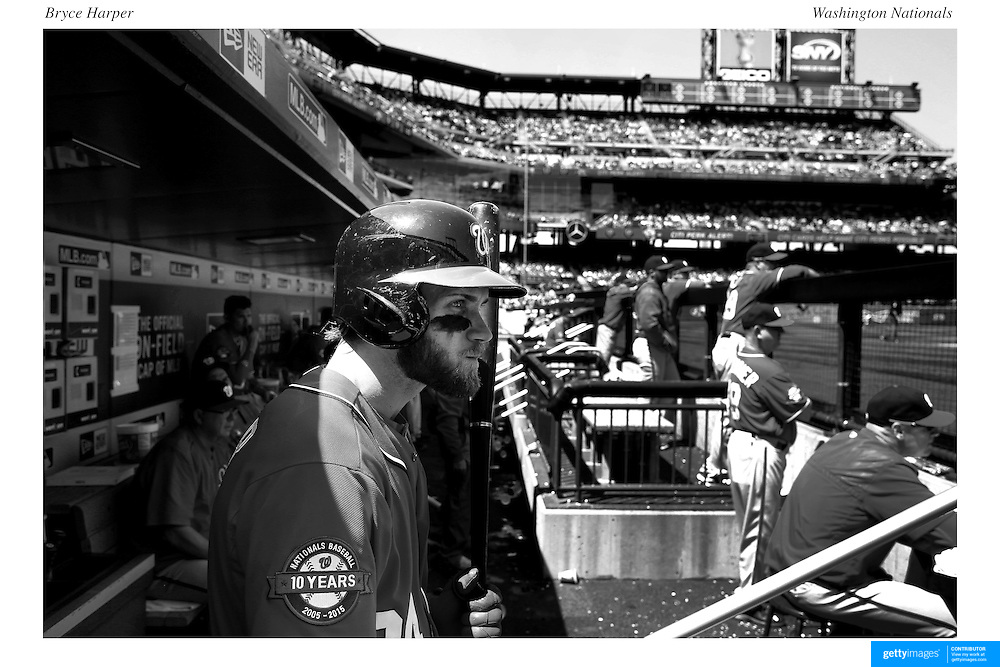Bryce Harper, Washington Nationals, in the dugout preparing to bat during the New York Mets Vs Washington Nationals MLB regular season baseball game at Citi Field, Queens, New York. USA. 3rd May 2015. Photo Tim Clayton