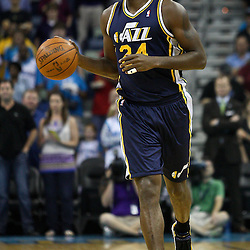 April 11, 2011; New Orleans, LA, USA; Utah Jazz power forward Paul Millsap (24) against the New Orleans Hornets during a game at the New Orleans Arena. The Jazz defeated the Hornets 90-78.  Mandatory Credit: Derick E. Hingle