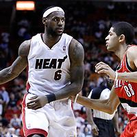 08 March 2011: Miami Heat small forward LeBron James (6) dribbles as Portland Trail Blazers small forward Nicolas Batum (88) defends on him during the Portland Trail Blazers 105-96 victory over the Miami Heat at the AmericanAirlines Arena, Miami, Florida, USA.