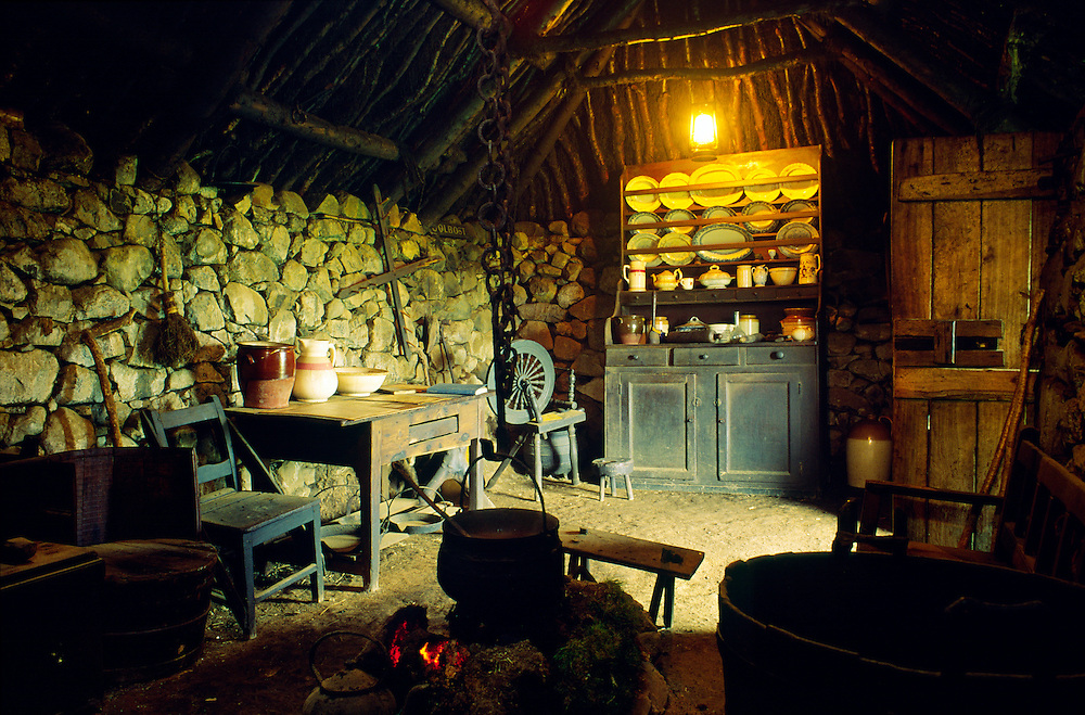 Interior of the Black House traditional croft at the museum at Colbost, near Dunvegan, Isle of Skye, Scotland, UK