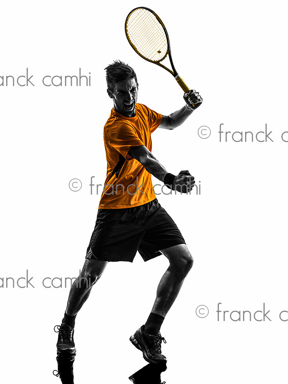 one man tennis player celebrating in silhouette on white background
