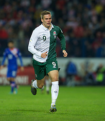 OSIJEK, CROATIA - Tuesday, October 16, 2012: Wales' Steve Morison in action against Croatia during the Brazil 2014 FIFA World Cup Qualifying Group A match at the Stadion Gradski Vrt. (Pic by David Rawcliffe/Propaganda)