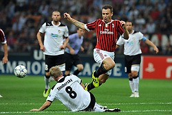 28.09.2011, Stadion Giuseppe Meazza, Mailand, ITA, UEFA CL, Gruppe H, ITA, UEFA CL, AC Mailand (ITA) vs FC Viktoria Pilsen (CZE), im Bild David LIMBERSKY Plzen, Antonio CASSANO Milan. // during the UEFA Champions League game, group H, AC Mailand (ITA) vs FC Viktoria Pilsen (CZE) at Giuseppe Meazza stadium in Mailand, Italy on 2011/09/28. EXPA Pictures © 2011, PhotoCredit: EXPA/ InsideFoto/ Alessandro Sabattini +++++ ATTENTION - FOR AUSTRIA/(AUT), SLOVENIA/(SLO), SERBIA/(SRB), CROATIA/(CRO), SWISS/(SUI) and SWEDEN/(SWE) CLIENT ONLY +++++