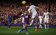 Daley Blind heads clear the danger while under pressure from Dwight Gayle during the Barclays Premier League match between Crystal Palace and Manchester United at Selhurst Park, London, England on 31 October 2015. Photo by Michael Hulf.