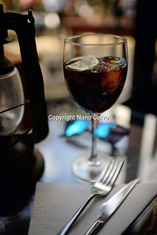 Soda and sunglasses on restaurant table